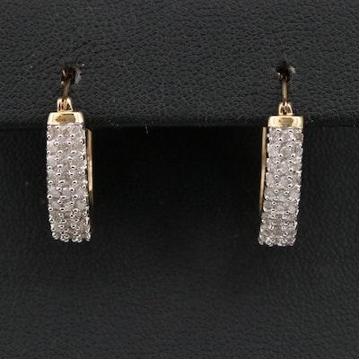 10K Diamond Oval Hoop Heart Motif Earrings