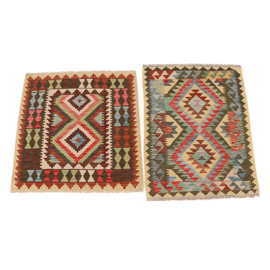 3'3 x 3'5 and 2'8 x 3'10 Handwoven Afghan Kilim Rugs