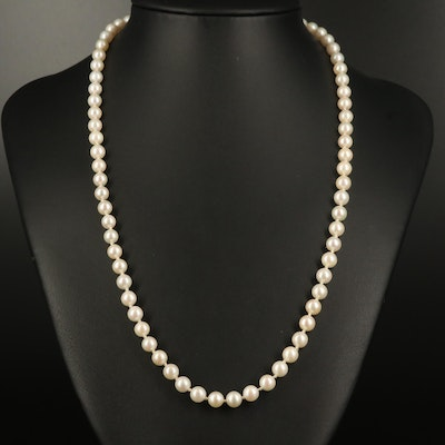 Individually Knotted Pearl Strand Necklace with 14K Fluted Clasp