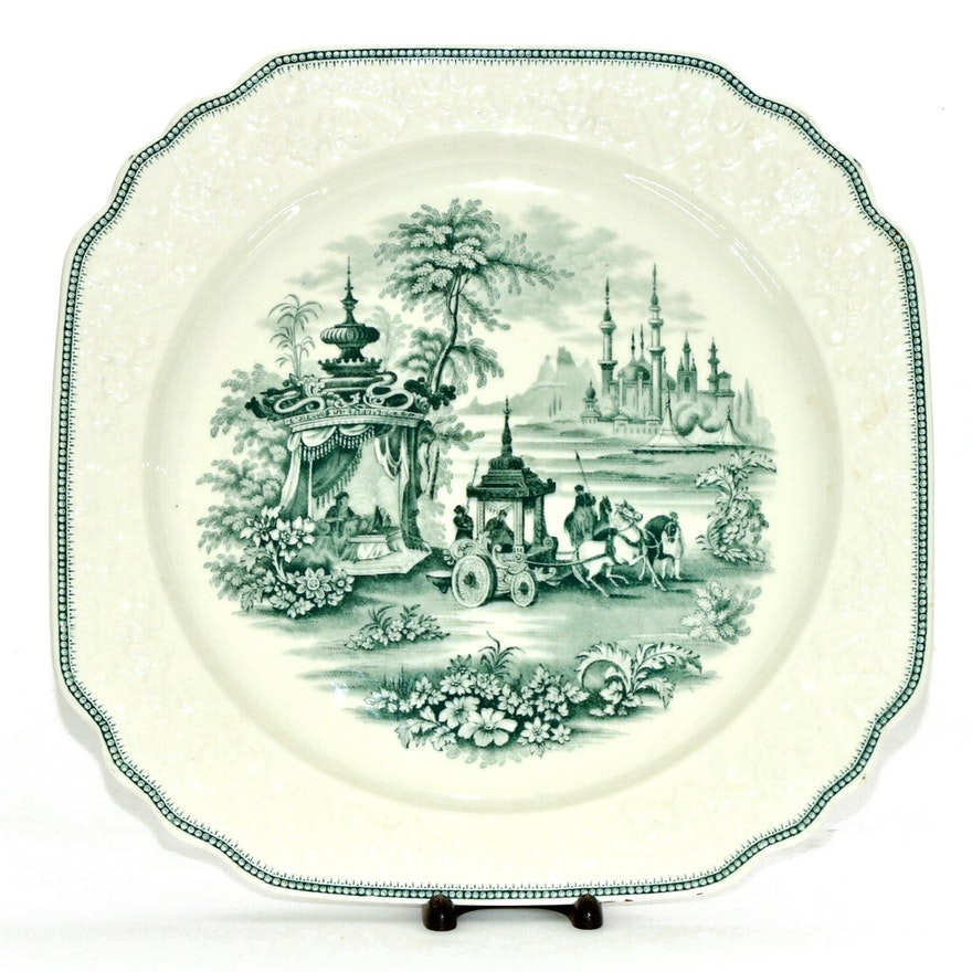 George Jones and Sons Transferware Ironstone Platter, Late 19th C.