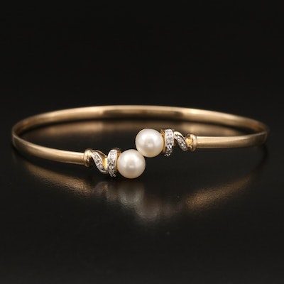 14K Pearl and Diamond Flexible Bypass Cuff