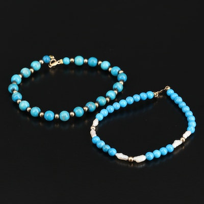 14K Magnesite and Pearl Beaded Bracelets
