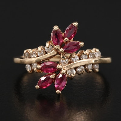 14K Ruby and Diamond Foliate Bypass Ring