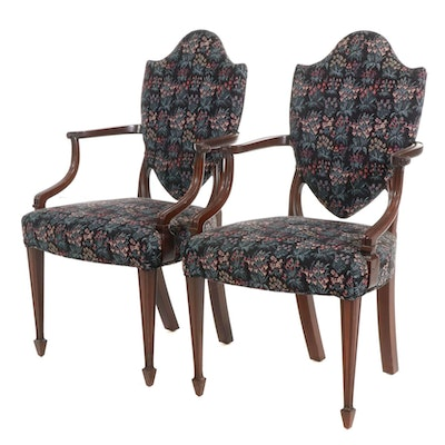 Pair of Hepplewhite Style Mahogany Upholstered Armchairs, Late 20th Century