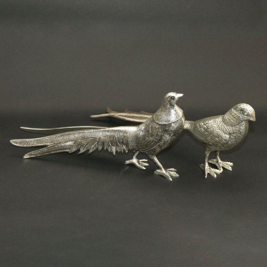 Cast and Silver-Plated Table Pheasants, Mid to Late 20th Century