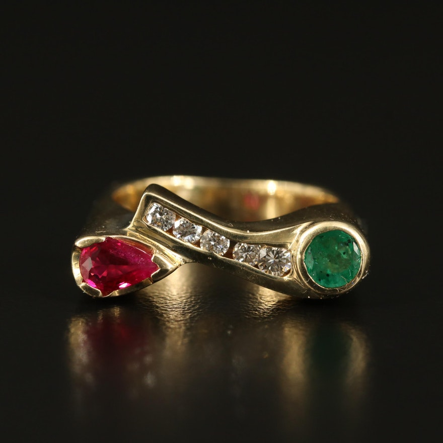 14K Connected Emerald and Ruby Bar Ring with Diamond Channel