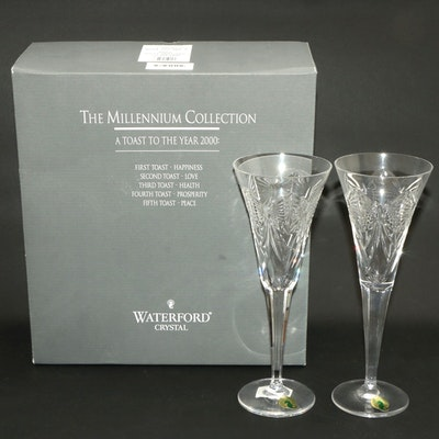 "Waterford Crystal ""Happiness"" Millennium Series Champagne Flutes"