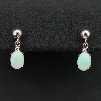 14K Opal Drop Earrings with Diamond Accents