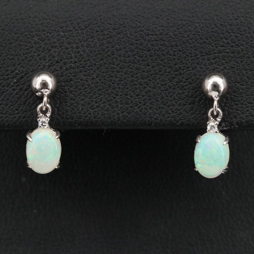 14K Opal Drop Earrings with Diamond Accents