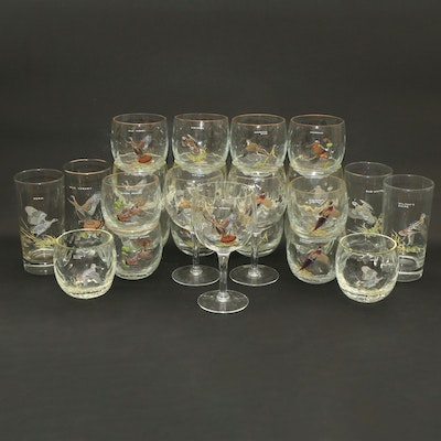 """Ned Smith """"Game Birds"""" Roly Poly, Highballs and Wine Glasses from Orvis"""