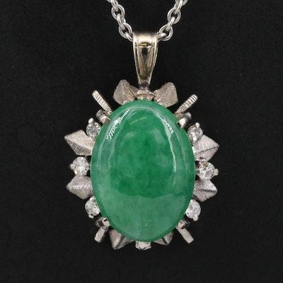 1940s 14K Jadeite and Diamond Pendant Necklace
