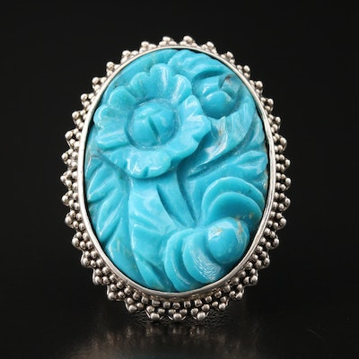 Amy Kahn Russell Sterling Carved Turquoise Flower Ring