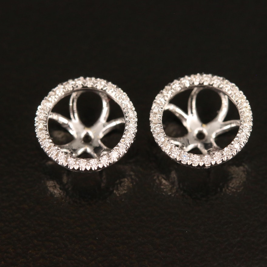 18K Diamond Halo Earring Jackets