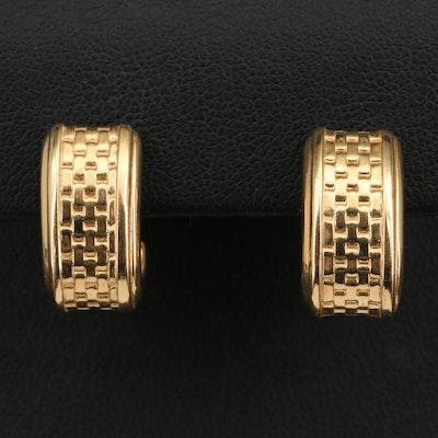14K Basket Weave J-Hoop Earrings