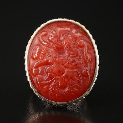 Sterling Carved Jadeite Dragon Ring