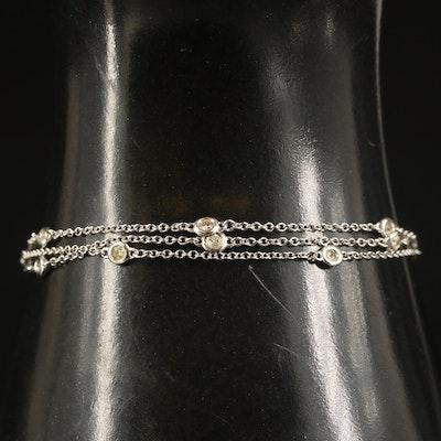 14K Triple Strand Diamond Station Bracelet
