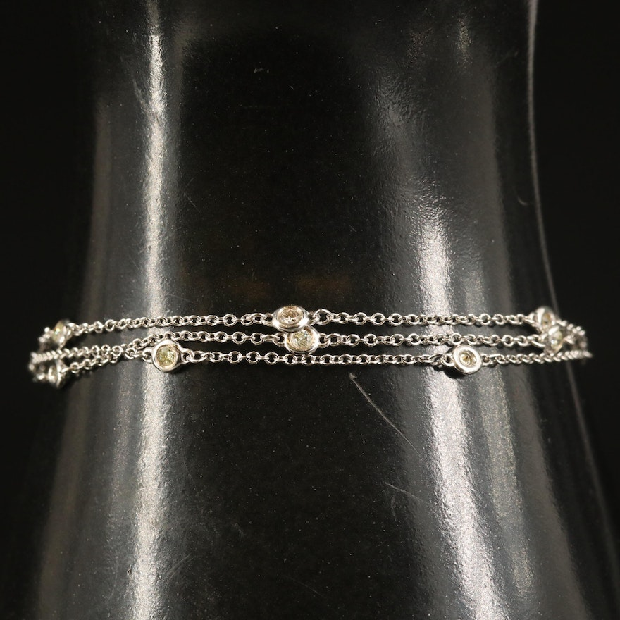 14K Triple Strand Diamond Station Bracelet