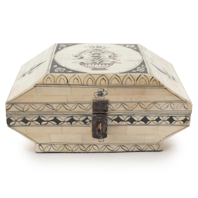 Indian Hand-Painted Tessellated Bone Casket