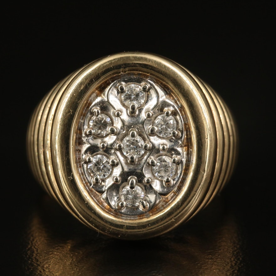 10K Fluted Diamond Ring
