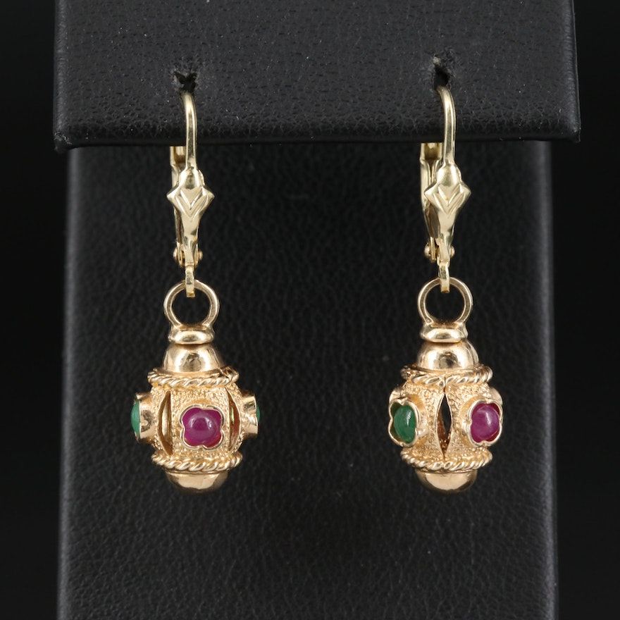 14K Ruby and Emerald Drop Earrings
