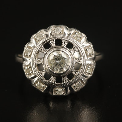 14K Diamond Open Cathedral Ring