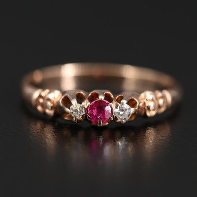 Early 1900s 10K Ruby and Diamond Ring