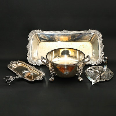 Elkington & Co. Silver Plate Bottle Holder with Other Silver Plate Serveware
