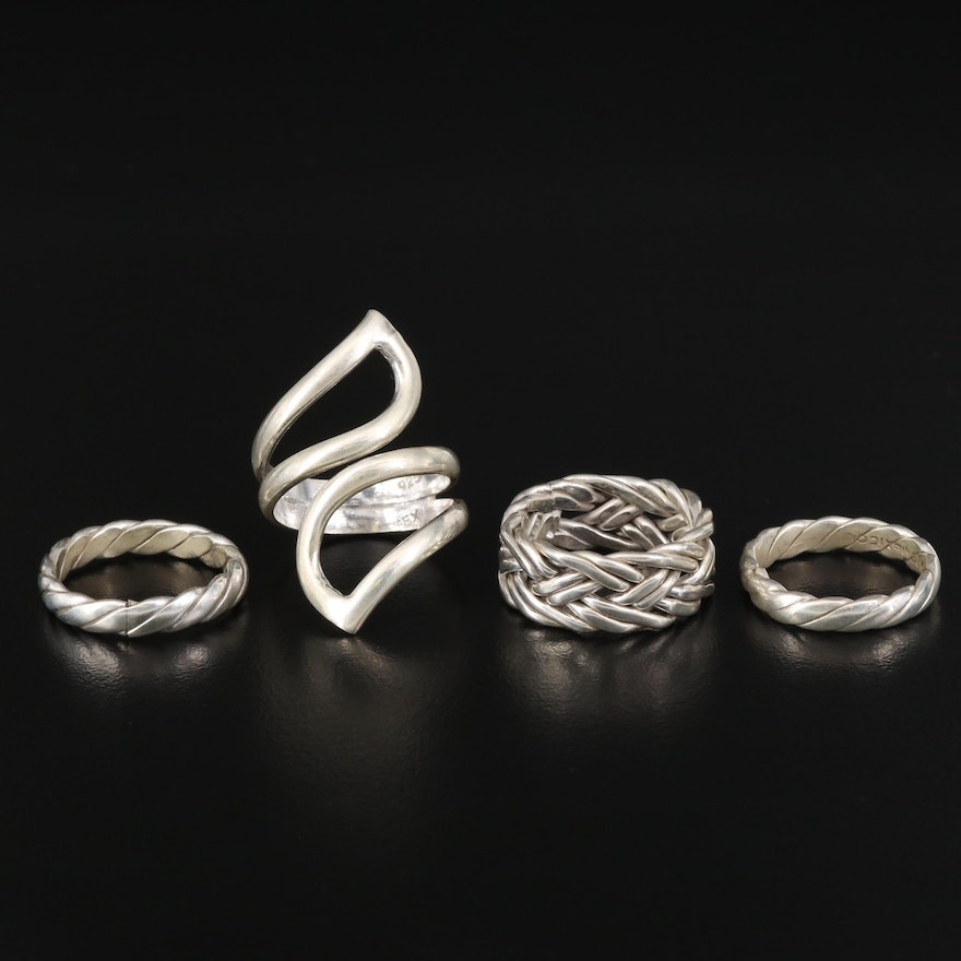 Sterling Silver Ring Selection Featuring Braided and Bypass Designs