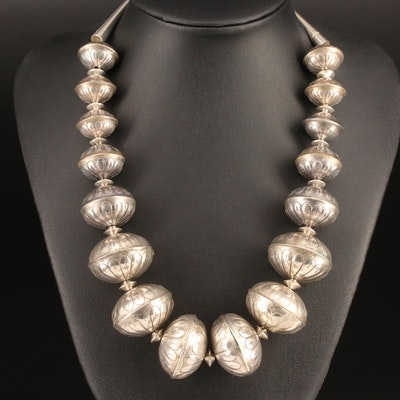Sterling and 800 Silver Graduated Bench Bead Necklace