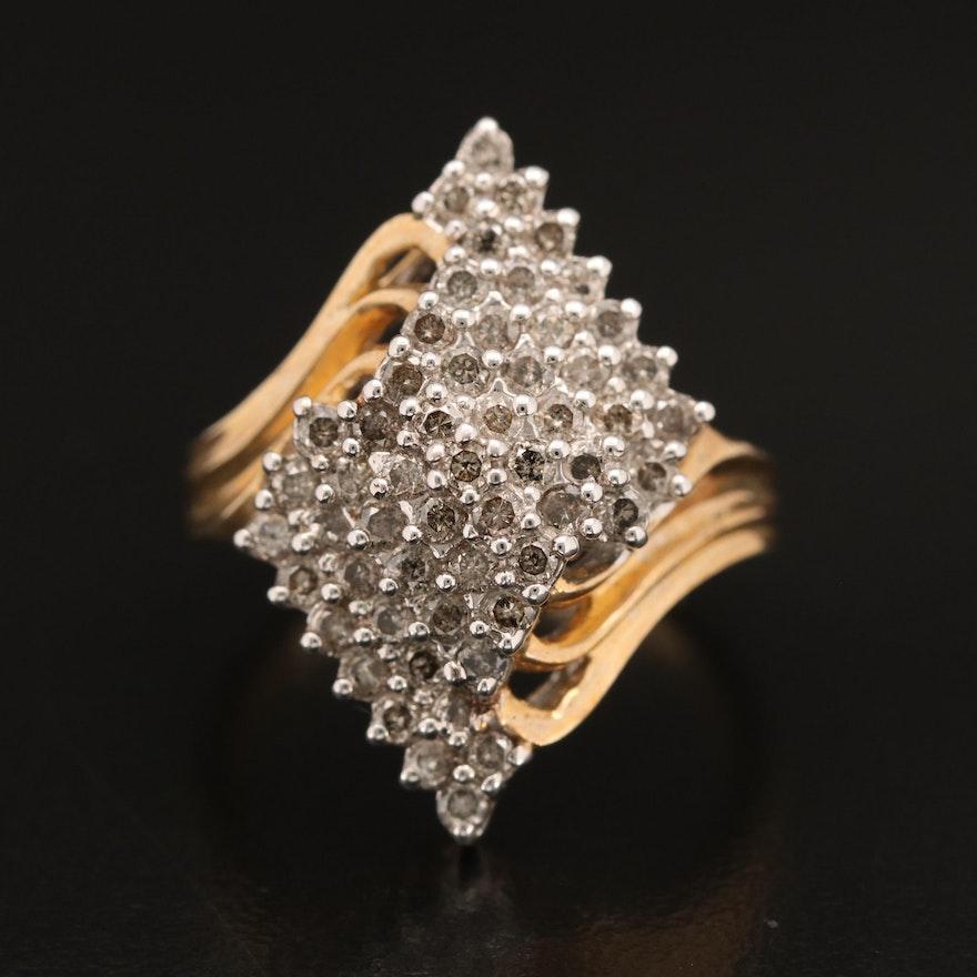 10K 1.05 CTW Diamond Cluster Ring