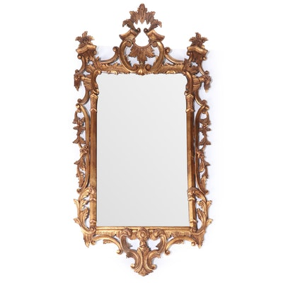 Chinese Chippendale Style Giltwood Mirror, 20th Century