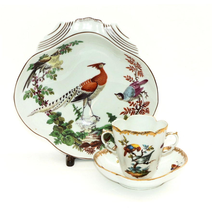 1879-1880 Helena Wolfsohn Hand-Painted Chocolate Cup and Mottahedeh Shell Bowl