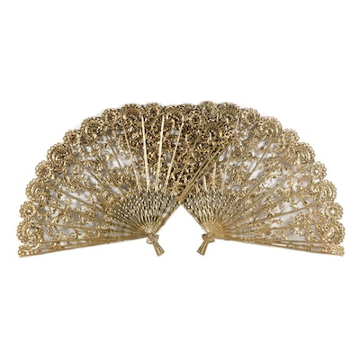 Gilt Decorative Wall Hanging Fans, Mid-20th Century