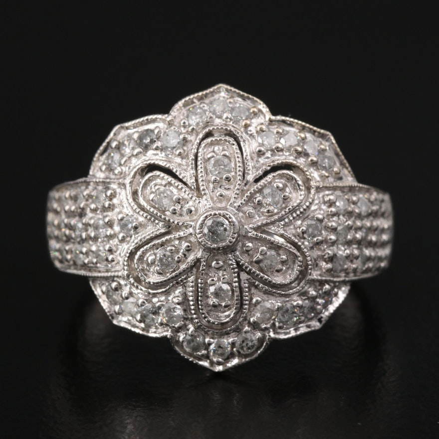 10K Diamond Floral Ring