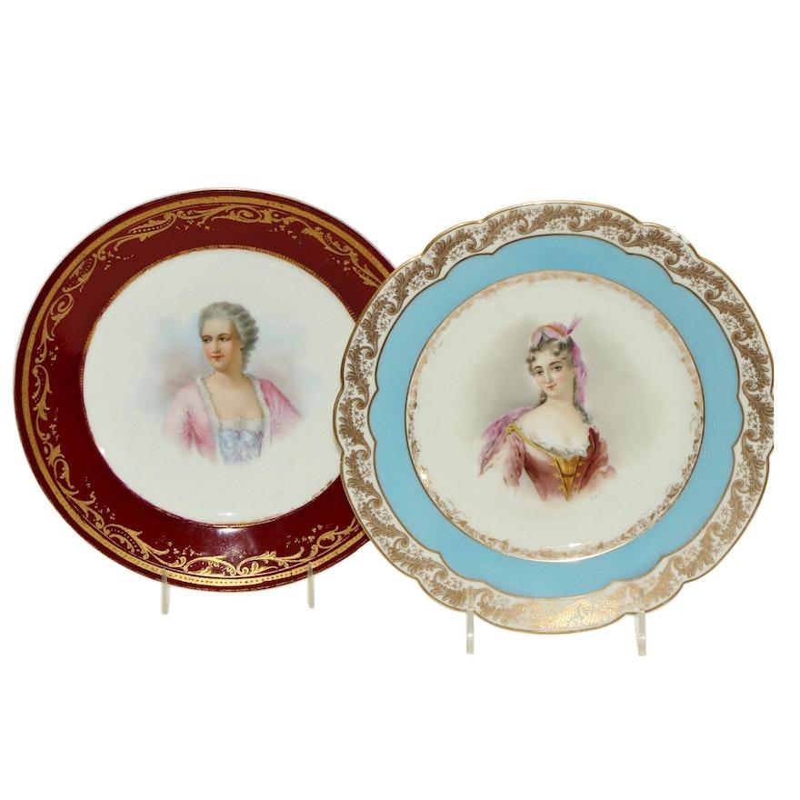 Sèvres Château des Tuileries Porcelain Hand-Painted Portrait Plates, Antique