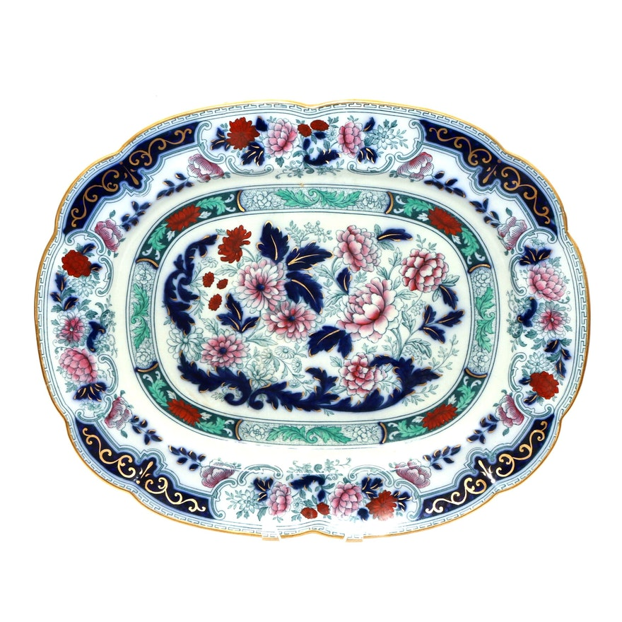 Cauldon Hand-Painted Transferware Platter, Late 19th/ Early 20th C.