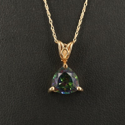 14K Mystic Topaz Pendant Necklace