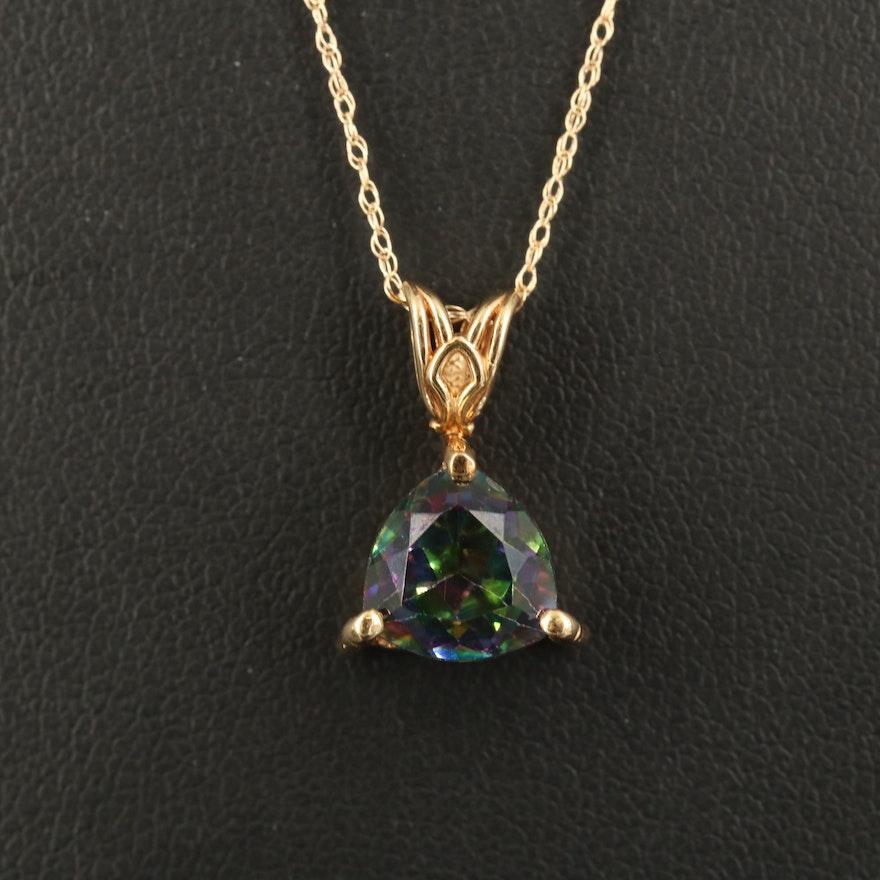 14K Mystic Topaz Pendant Necklace