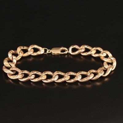 Vintage Patterned Curb Link Bracelet with 14K Clasp