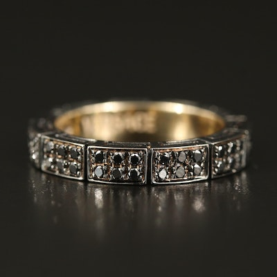 Versace 18K Diamond Eternity Band with Greek Key Gallery