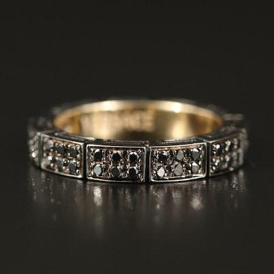 Versace 18K Diamond Eternity Band with Greek Key Gallery