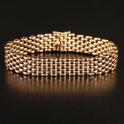 14K Panther Link Bracelet Featuring Patterned Links