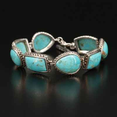 Barse Sterling Bracelet with Faux Turquoise