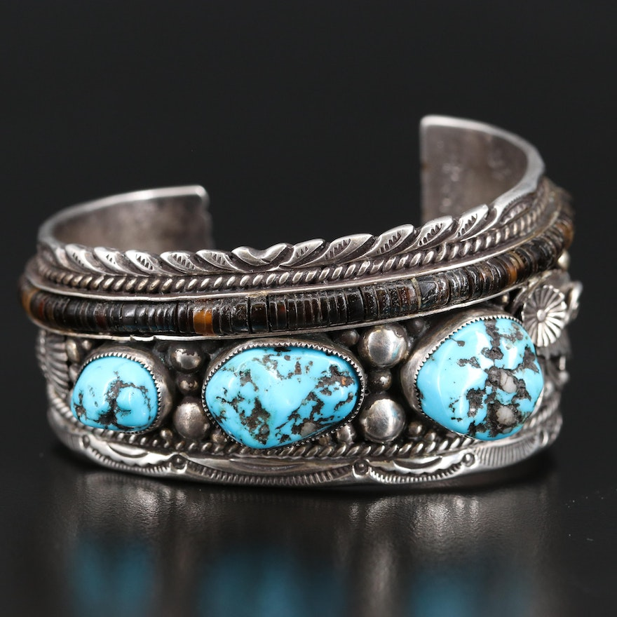 Artisan Signed Southwestern Style Sterling Silver Turquoise and Shell Cuff