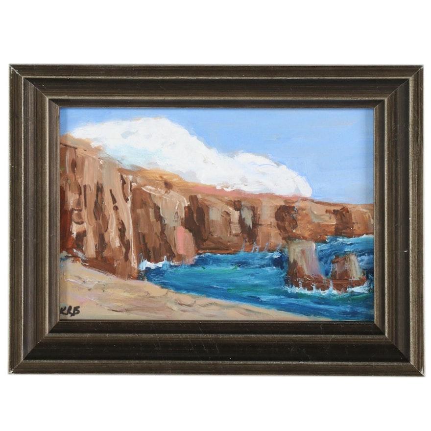 Kenneth R. Burnside Oil Painting of Coastal Cliffs