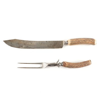 Winchester Carving Fork and Knife Set with Hollow Antler Handles