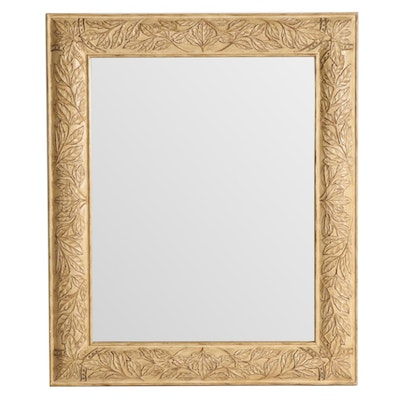 Large Leaf Motif Framed Wall Mirror with Beveled Edge Glass