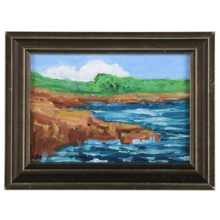 Kenneth R. Burnside Oil Painting of Coastal Crags