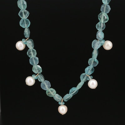 Fluorite and Pearl Drop Necklace with 14K Clasp
