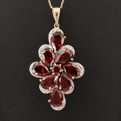 10K Garnet and Diamond Pendant on 14K Chain
